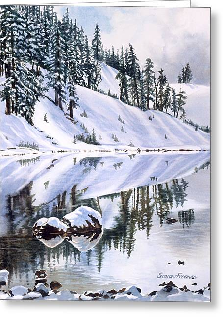 Watercolour Art Greeting Cards - Lake Moraine Oregon Greeting Card by Sharon Freeman