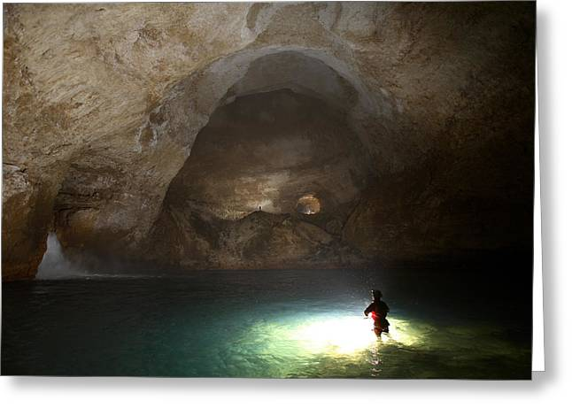 Water In Caves Greeting Cards - Lake Myos Turquoise Depths Illuminated Greeting Card by Stephen Alvarez