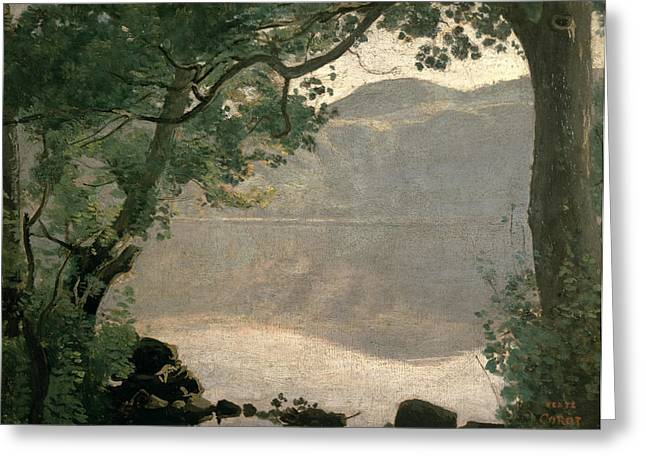 1843 Greeting Cards - Lake Nemi Greeting Card by Jean Baptiste Camille Corot