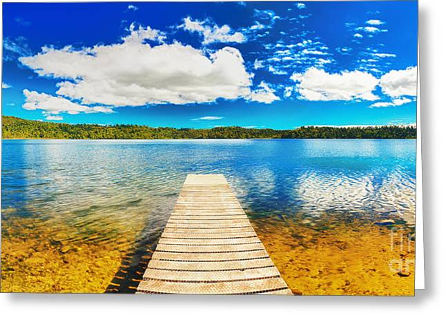 Jetty View Park Greeting Cards - Lake panorama Greeting Card by MotHaiBaPhoto Prints