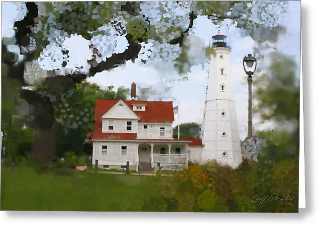 Lake Park Lighthouse Greeting Card by Geoff Strehlow