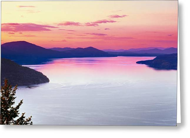 Lake Pend Oreille Greeting Cards - Lake Pend Oreille Panoramic Greeting Card by Leland D Howard