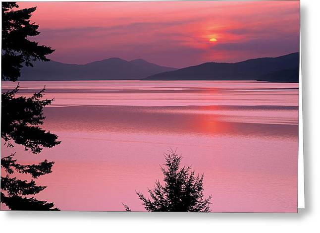 Lake Pend Oreille Greeting Cards - Lake Pend Oreille Sunset Reflection Greeting Card by Leland D Howard
