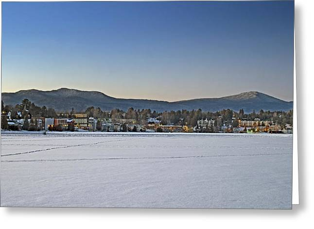 Placid Blue Greeting Cards - Lake Placid Village on Mirror Lake in Upstate New York Greeting Card by Brendan Reals