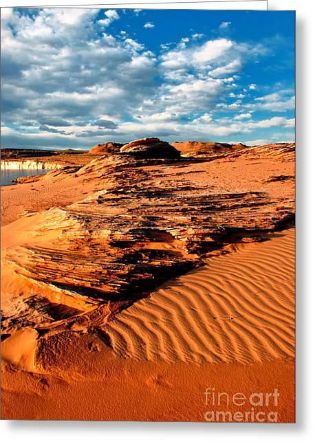 Man-made Lake Greeting Cards - Lake Powell Morning Clouds Greeting Card by Thomas R Fletcher