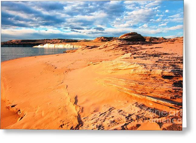 Desert Lake Digital Art Greeting Cards - Lake Powell Serenity Greeting Card by Thomas R Fletcher