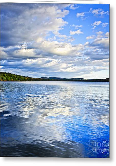 Two Rivers Greeting Cards - Lake reflecting sky Greeting Card by Elena Elisseeva