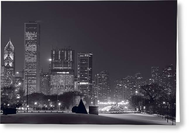 City Buildings Greeting Cards - Lake Shore Drive Chicago B and W Greeting Card by Steve Gadomski