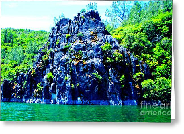 Lake Side Boulder Greeting Card by Christina Perry