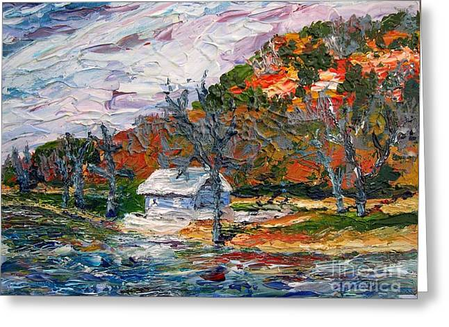 Pallet Knife Greeting Cards - Lake Side  Greeting Card by Linda  Steine