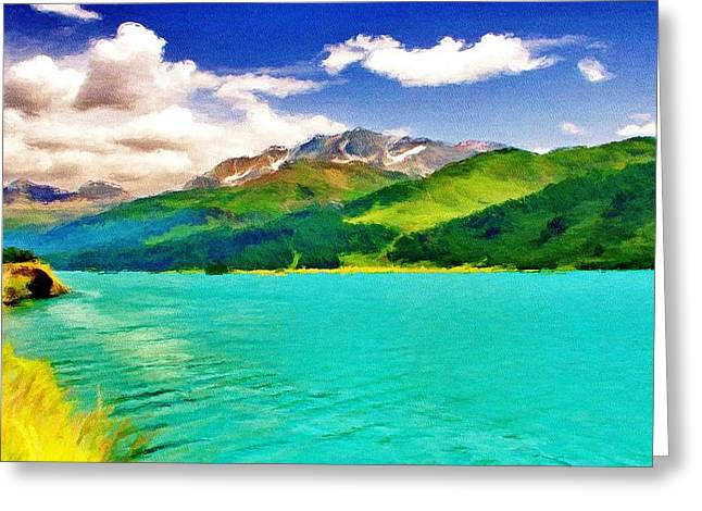 Snow Capped Greeting Cards - Lake Sils Greeting Card by Jeff Kolker