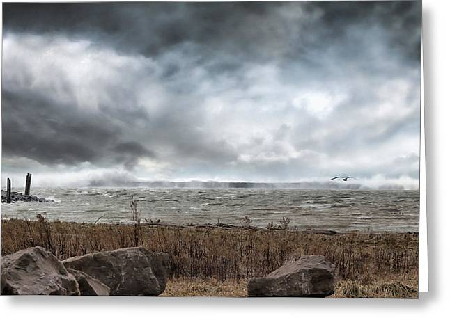 Lake Erie Photographs Greeting Cards - Lake Storm Greeting Card by Peter Chilelli