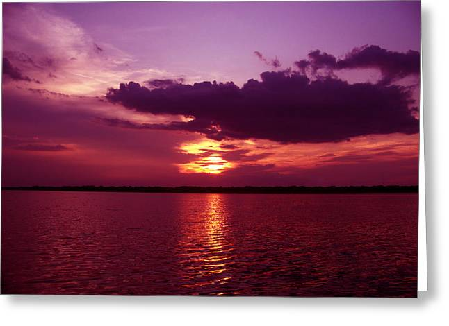 """sunset Photography"" Greeting Cards - Lake Sunset Greeting Card by Evelyn Patrick"