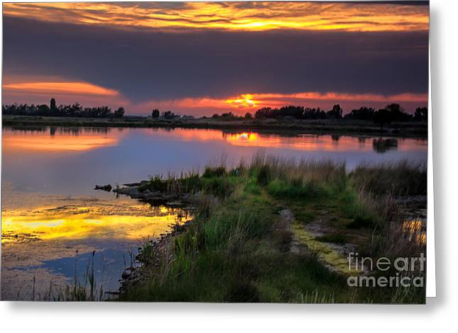 Emmett Valley Greeting Cards - Lake Sunset Greeting Card by Robert Bales