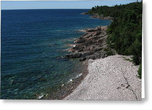 Canoe Pyrography Greeting Cards - Lake Superior Shoreline Greeting Card by Waldemar Okon