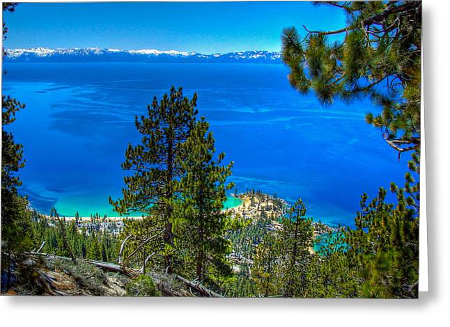 Sand Harbor Greeting Cards - Lake Tahoe Sand Harbor State Park from Flume Trail Greeting Card by Scott McGuire