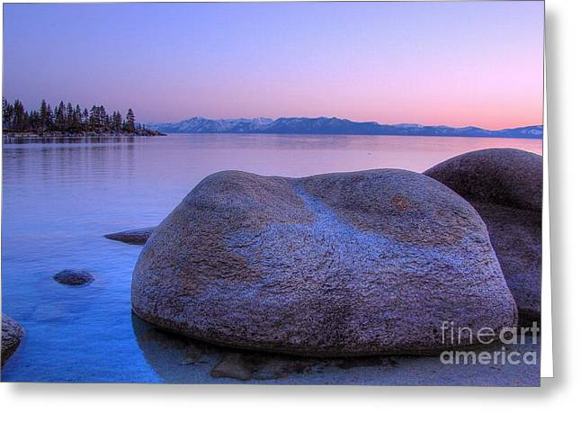 Sand Harbor Greeting Cards - Lake Tahoe Sunset Greeting Card by Scott McGuire