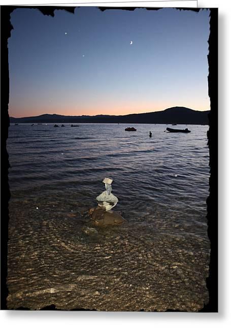 Rock Pile Greeting Cards - Lake Tahoe Sunset with Rocks and Black Framing Greeting Card by Carol Groenen