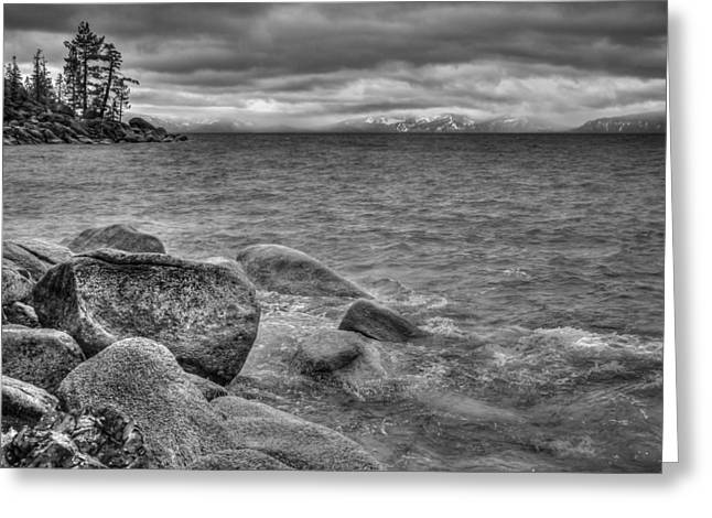 Storm Landscape Greeting Cards - Lake Tahoe Winter Storm Greeting Card by Scott McGuire