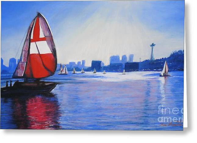 Sailing Boat Pastels Greeting Cards - Lake Union and the Red Sail Greeting Card by Terri Thompson