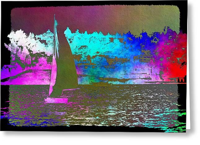 Lake Union Greeting Cards - Lake Union Sail 2 Greeting Card by Tim Allen