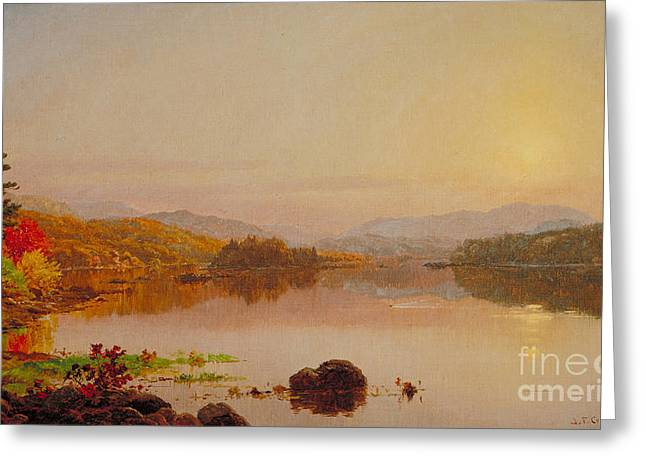 Jervis Greeting Cards - Lake Wawayanda Greeting Card by Jasper Francis Cropsey