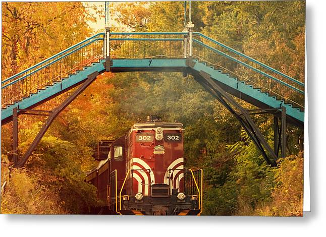 Hobo Greeting Cards - Lake Winnipesaukee New Hampshire Railroad Train in Autumn Foliage Greeting Card by Stephanie McDowell
