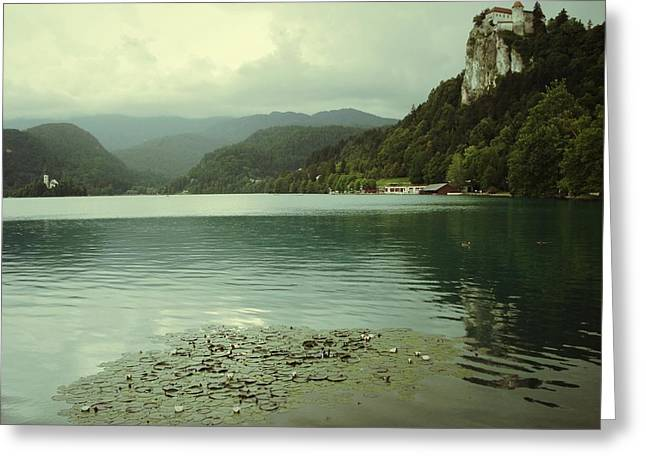 Castle On Mountain Greeting Cards - Lake with church and castle Greeting Card by Jean Purgaj