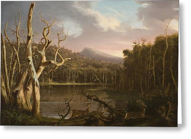 Upstate Paintings Greeting Cards - Lake with Dead Trees  Greeting Card by Thomas Cole
