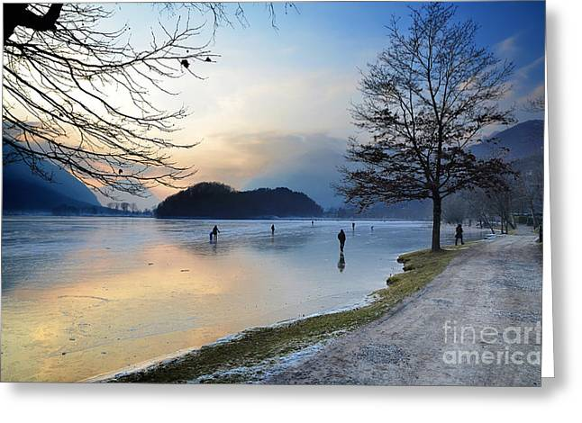 Ice-skating Greeting Cards - Lake with ice Greeting Card by Mats Silvan