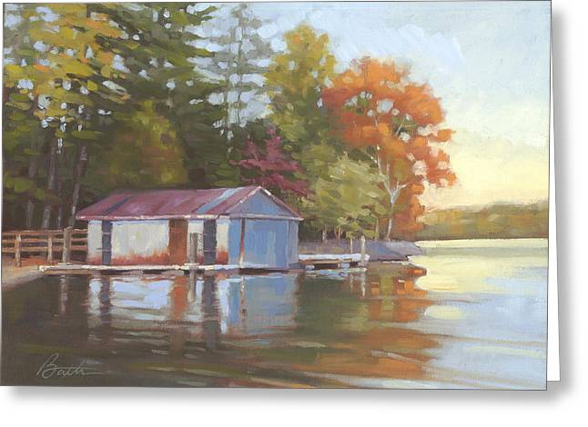 Lake Wylie Greeting Cards - Lake Wylie Boathouse Greeting Card by Todd Baxter
