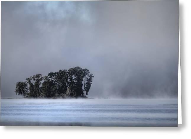 Lake Wylie Greeting Cards - Lake Wylie Foggy Morning Greeting Card by Dustin K Ryan