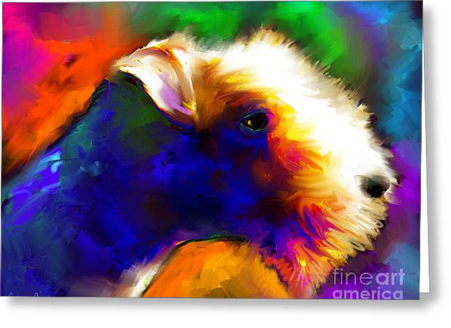 Gift Jewelry Greeting Cards - Lakeland terrier dog painting print Greeting Card by Svetlana Novikova