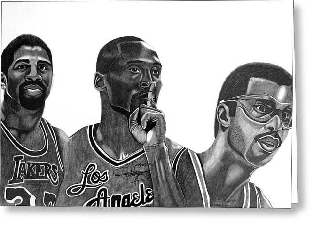Kobe Bryant Greeting Cards - Laker Greats Greeting Card by Keeyonardo