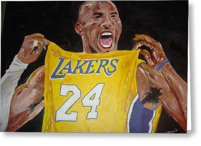 Recently Sold -  - Kobe Greeting Cards - Lakers 24 Greeting Card by Daryl Williams Jr