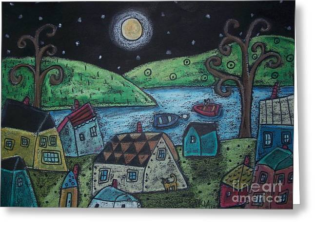 Primitive Greeting Cards - Lakeside Town Greeting Card by Karla Gerard