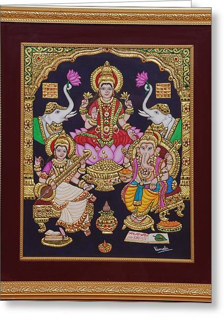 Tanjore Greeting Cards - Lakshmi Ganesh Saraswati Greeting Card by Vimala Jajoo