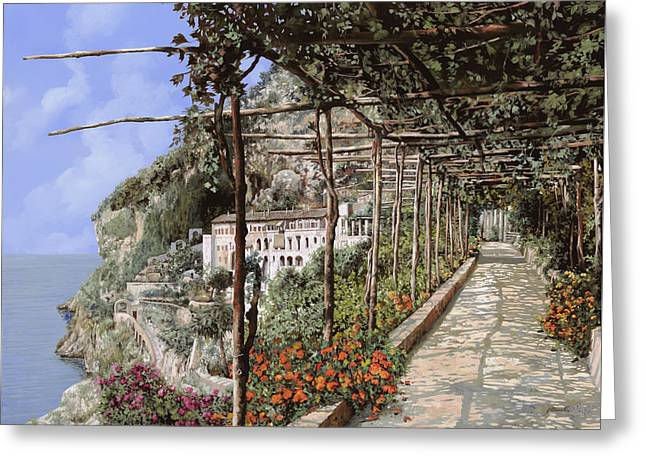 Landscapes Greeting Cards - Lalbergo dei cappuccini-Costiera Amalfitana Greeting Card by Guido Borelli