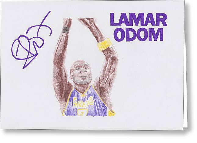 Lakers Drawings Greeting Cards - Lamar Odom Greeting Card by Toni Jaso
