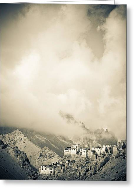 Belief Systems Greeting Cards - Lamayuru Monastery Sits Amid A Mountain Greeting Card by David DuChemin