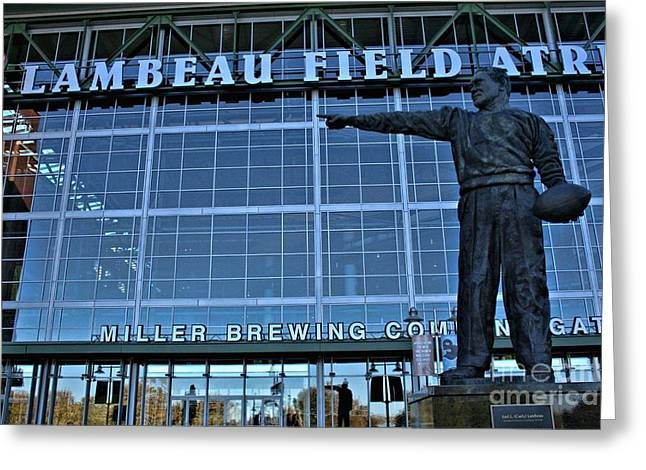Lambeau Field Greeting Cards - Lambeau Field - Curly Greeting Card by Tommy Anderson