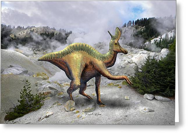 Dinosaurs Greeting Cards - Lambeosarus Near Steam Vent Greeting Card by Frank Wilson
