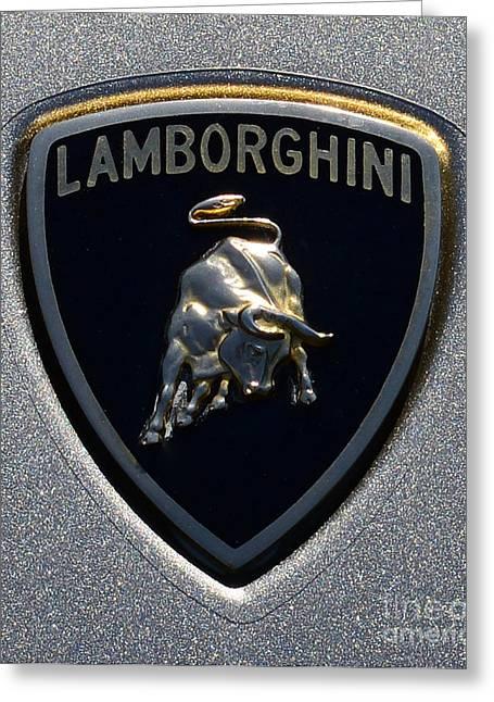 Garage Wall Art Greeting Cards - Lamborghini Emblem Greeting Card by Paul Ward