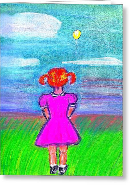 Sorrow Pastels Greeting Cards - Lament Balloon Greeting Card by Jennifer Addington