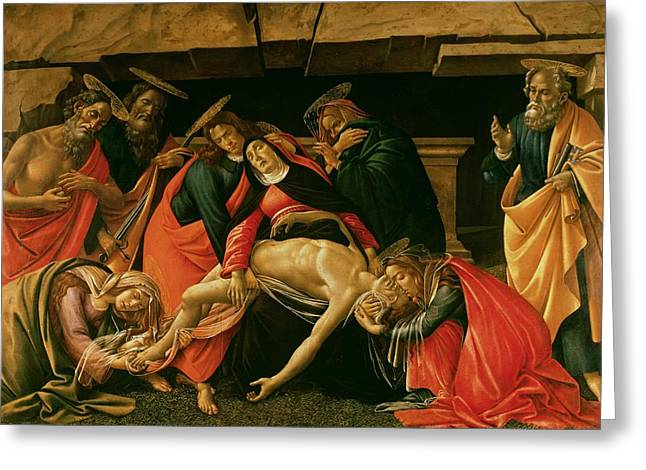 Mary Greeting Cards - Lamentation of Christ Greeting Card by Sandro Botticelli