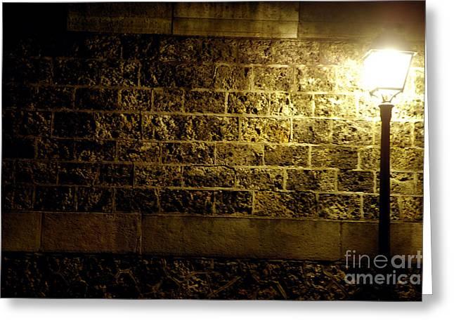 Night Lamp Greeting Cards - Lamp and a brick wall Greeting Card by Micah May