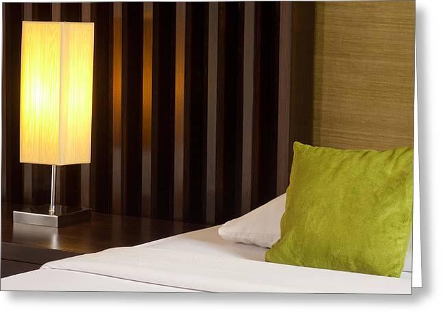 lamp and bed Greeting Card by ATIKETTA SANGASAENG