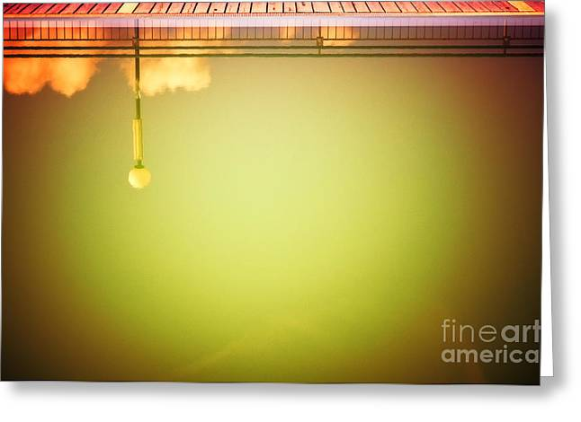 Lamp And Clouds In A Swimming Pool Greeting Card by Silvia Ganora