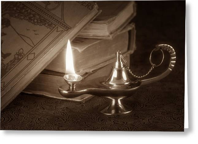 Oil Lamp Greeting Cards - Lamp of Learning Greeting Card by Tom Mc Nemar