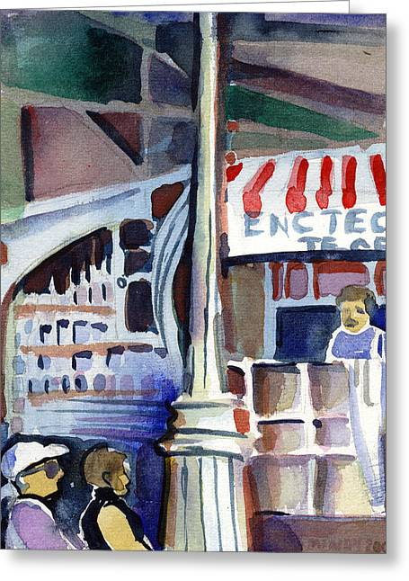 Deli Greeting Cards - Lamp Post in the Cafe Greeting Card by Mindy Newman